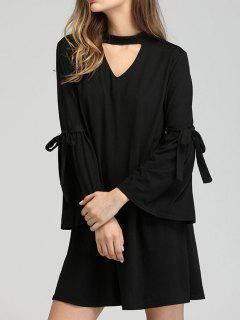 Flare Sleeve Keyhole Neck Shift Dress - Black S