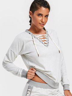Lace Up V Neck Sweatshirt - Gray S