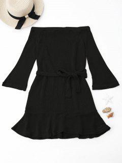 Robe En Maille Épaules Dénudées - Noir L