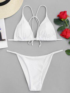 Cami Back Tied Thong Bikini Set - White M