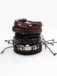 Retro Faux Leather Woven Bracelets Set - Brown