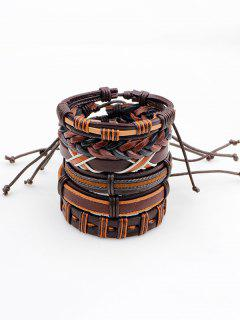 Vintage Artificial Leather Woven Friendship Bracelets Set - Brown