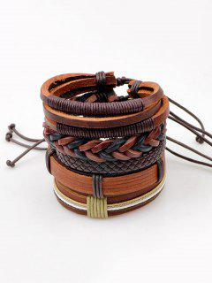 Vintage Faux Leather Layered Bracelets - Brown