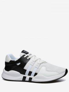 Round Toe Low Top Mesh Sneakers - Black White 40