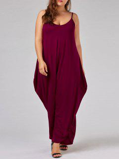 Plus Size Low Cut Spaghetti Strap Baggy Jumpsuit - Bright Red 5xl