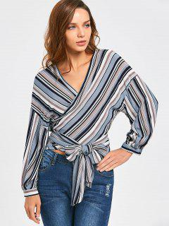 Front Knot Drop Shoulder Striped Wrap Blouse - Stripe Xl