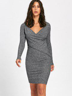 Long Sleeve Ribbed Surplice Knit Dress - Gray Xl