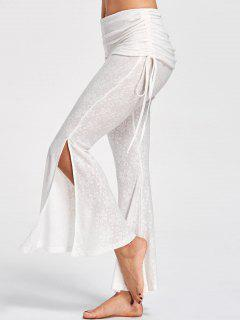 Foldover Floral Slit Flare Pants - Off-white 2xl