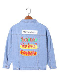 Letter Print Flap Pockets Jean Jacket - Light Blue 2xl