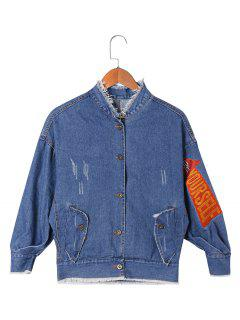 Applique Frayed Denim Jacket - Denim Blue 2xl