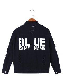 Blue Is My Name Frayed Denim Jacket - Black 2xl