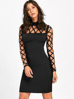Cut Out Argyle Long Sleeve Bodycon Dress - Black L