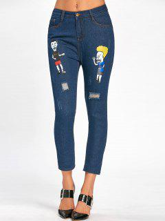 Cartoon Pattern Scratch Ripped Nine Minutes Of Jeans - Blue L