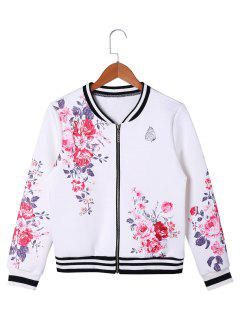 Floral Zip Up Baseball Jacket - White Xl
