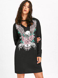Choker Neck Eagle Print Dress - Black M
