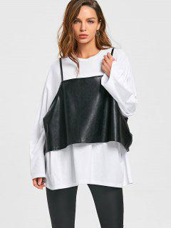 Oversize Long Sleeve T-shirt With PU Leather Caim Top - White And Black 2xl