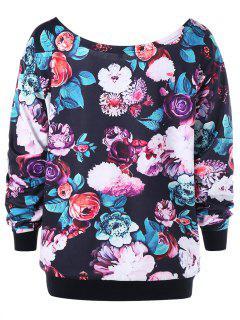 Plus Size Allover Floral Skew Collar Sweatshirt - Black Xl