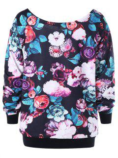 Sweat-shirt Grande Taille à Fleurs Partout Encolure Cloutée - Noir 4xl