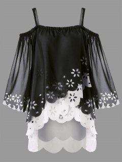 Plus Size Cold Shoulder High Low Scalloped Blouse - Black Xl