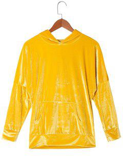 Hoodie Aus Samt Mit Känguru-Taschen - Gold Gelb L