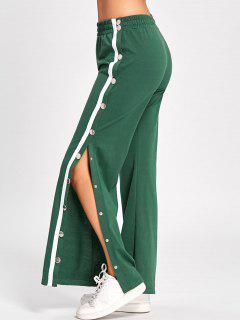 Side Slit Button Up Wide Leg Pants - Green L
