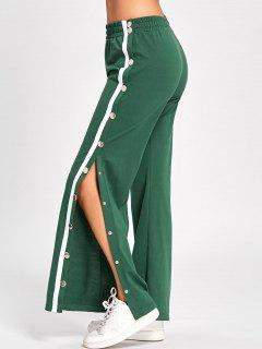 Side Slit Button Up Wide Leg Pants - Green Xl