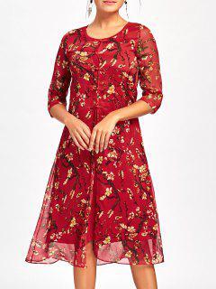 Blossom Print Midi Dress - Red M