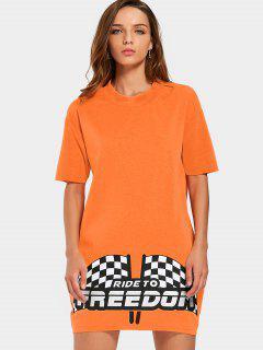 Graphic Print Mini Shift Dress - Orange L