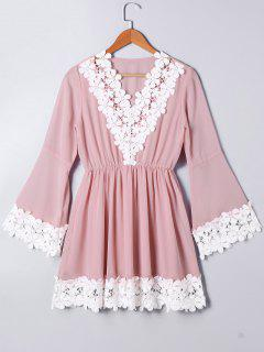 High Waist Lace Panel Flare Sleeve Dress - Light Pink L