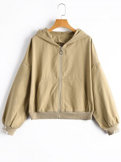 Zippered Dead Inside Hooded Jacket - Khaki S