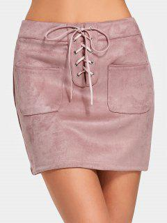 High Waist Lace Up Faux Suede Skirt - Pink L