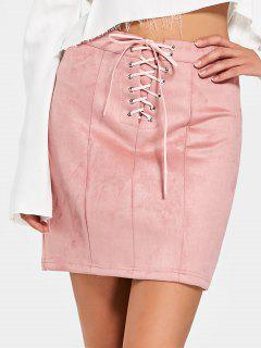 High Waisted Faux Suede Lace Up Skirt - Pink L