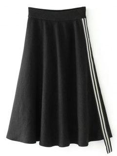 Side Sequined Striped Knit Skirt - Black