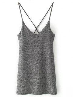 Sequined Mini Slip Dress - Silver M