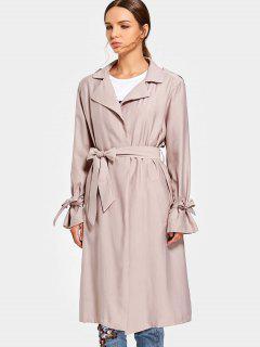Side Pockets Back Slit Belted Coat - Light Pink M