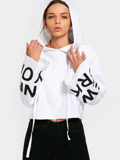 Oversized Sleeve Drawstring Letter Hoodie - White M