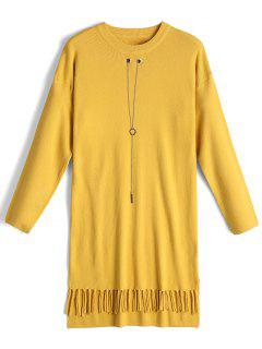 Chain Long Sleeve Fringed Sweater Dress - Yellow