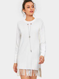 Chain Long Sleeve Fringed Sweater Dress - White