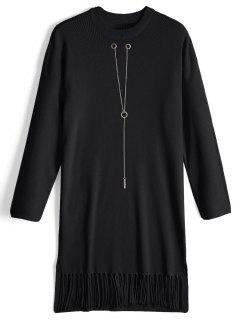 Chain Long Sleeve Fringed Sweater Dress - Black