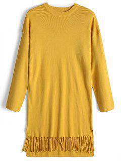Bow Tied Long Sleeve Fringed Sweater Dress - Yellow