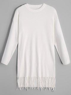 Bow Tied Long Sleeve Fringed Sweater Dress - White