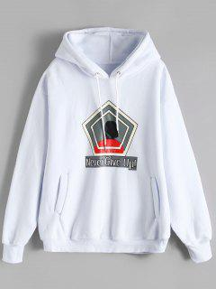 Fleeced Graphic Hoodie - White