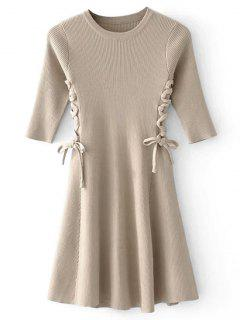 Lace-up Ribbed Sweater Dress - Camel