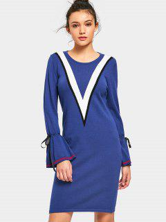 Bow Tied Sleeve Contrasting Sweater Dress - Blue