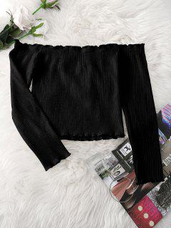 Knitted Ruffled Ribbed Off Shoulder Top - Black