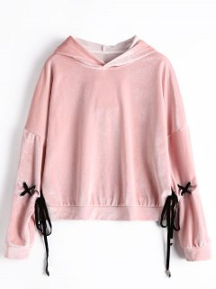 Sweat à Capuche En Velours Manches à Lacets - Rose Clair S