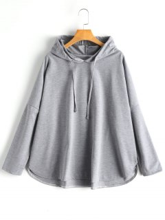 Patterned Oversized Tunic Hoodie - Gray