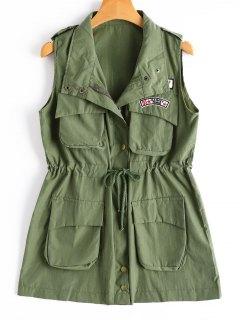 Drawstring Field Waistcoat - Army Green