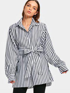 Oversized Side Slit Striped Belted Shirt - Black M