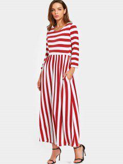 Round Collar Striped Maxi Dress - Red M